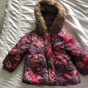 Floral Winter coat with faux fur hood